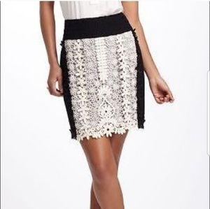 Leifnotes Anthro Crochet sz 12 Black Ivory Skirt